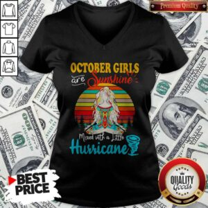 October Girls Are Sunshine Mixed With A Little Hurricane Lady Vintage Retro V-neck