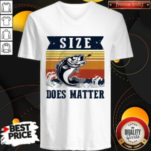 Perfect Fishing Size Does Matter Vintage Retro V-neck