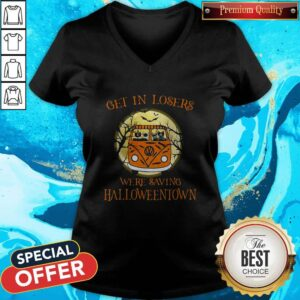 Top Bus Peace Cats Get In Losers We're Saving Halloweentown V-neck