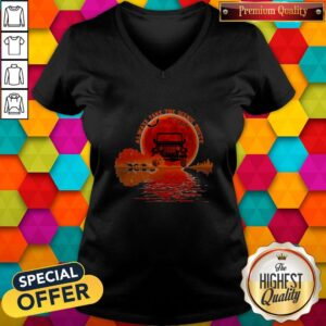 Top Guitar Natural Always Take The Scenic Route Halloween Sunset V-neck