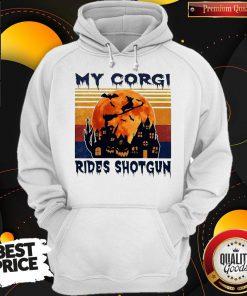Top Halloween My Corgi Rides Shotgun Vintage Retro HoodieTop Halloween My Corgi Rides Shotgun Vintage Retro Hoodie