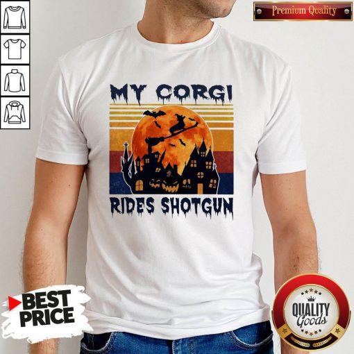 Top Halloween My Corgi Rides Shotgun Vintage Retro Shirt