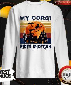 Top Halloween My Corgi Rides Shotgun Vintage Retro Sweatshirt