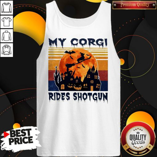 Top Halloween My Corgi Rides Shotgun Vintage Retro Tank Top