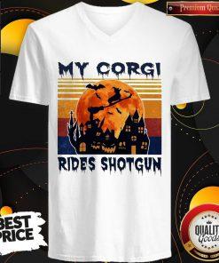 Top Halloween My Corgi Rides Shotgun Vintage Retro V-neck