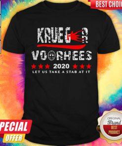 Top Krueger Voorhees 2020 Let Us Take A Stab At It Shirt