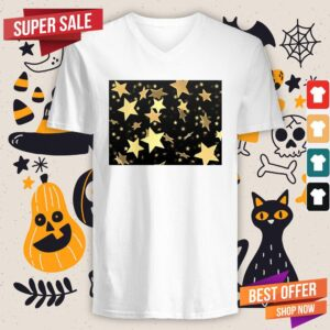 Black And Gold Star Merchandise Day Of The Dead V-neck