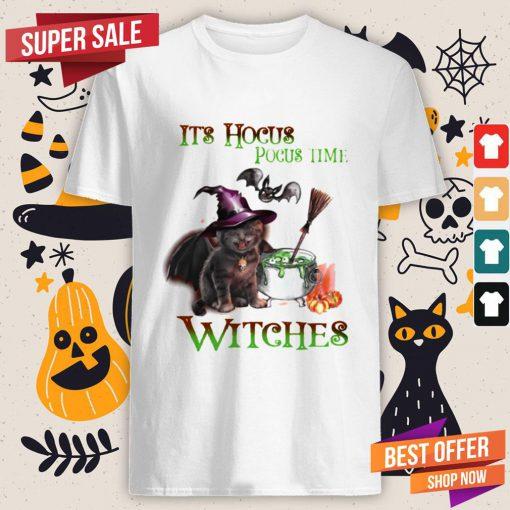 Cat Its Hocus Pocus Time Witch Halloween Shirt