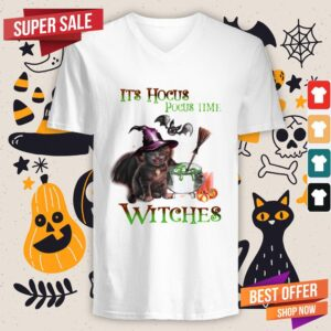 Cat Its Hocus Pocus Time Witch Halloween V-neck