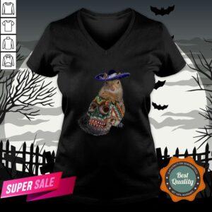 Day Of The Dead Squirrel Sugar Skull Halloween V-neck