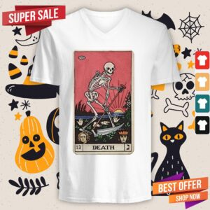 Death Tarot Skeleton Day Of The Dead Dia De Muertos V-neckDeath Tarot Skeleton Day Of The Dead Dia De Muertos V-neck