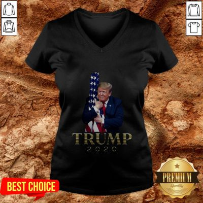 Donald Trump Hug American Flag 2020 V-neck