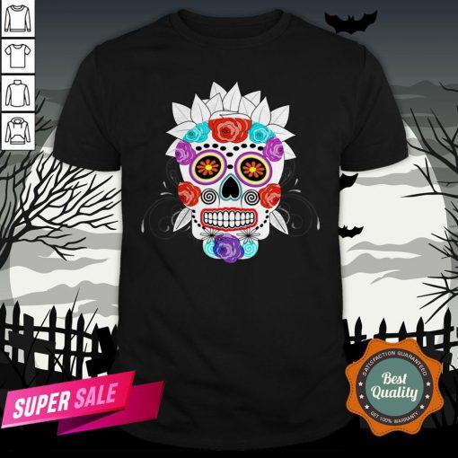Fun Bright Trendy Sugar Skull Dia De Los Muertos Day Of The Dead Shirt