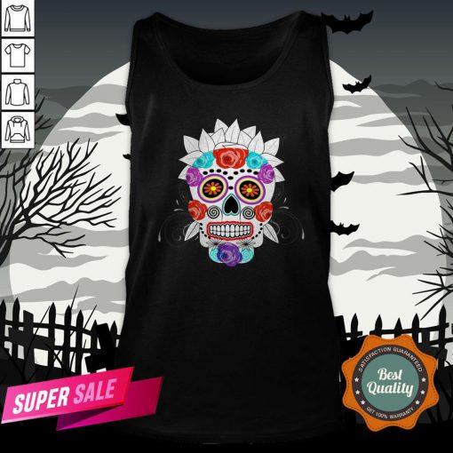 Fun Bright Trendy Sugar Skull Dia De Los Muertos Day Of The Dead Tank Top