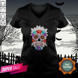 Fun Bright Trendy Sugar Skull Dia De Los Muertos Day Of The Dead V-neck