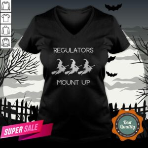 Funny Halloween Witch Regulators Mount Up Tee V-neck