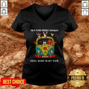 Girl And Cats On A Dark Desert Highway Cool Wind In My Hair V-neck