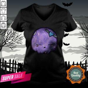 Halloween Purple Moon Skull Kawaii Cute Sugar Skull V-neckHalloween Purple Moon Skull Kawaii Cute Sugar Skull V-neck