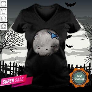 Halloween Silver Moon Skull Kawaii Cute Sugar Skull V-neckHalloween Silver Moon Skull Kawaii Cute Sugar Skull V-neck