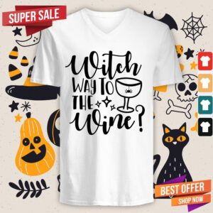 Nice Witch Way To The Wine Halloween V-neck