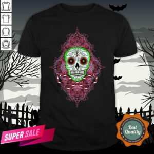 Skull And Candy Cane Dia De Los Muertos Day Of The Dead Shirt