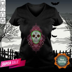 Skull And Candy Cane Dia De Los Muertos Day Of The Dead V-neck