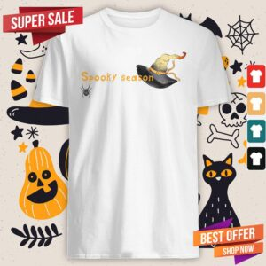 Spooky Season Halloween Witch Hat And Spider Shirt