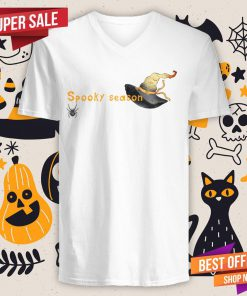 Spooky Season Halloween Witch Hat And Spider V-neck