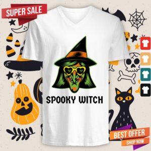 Spooky Witch Happy Halloween Day V-neck