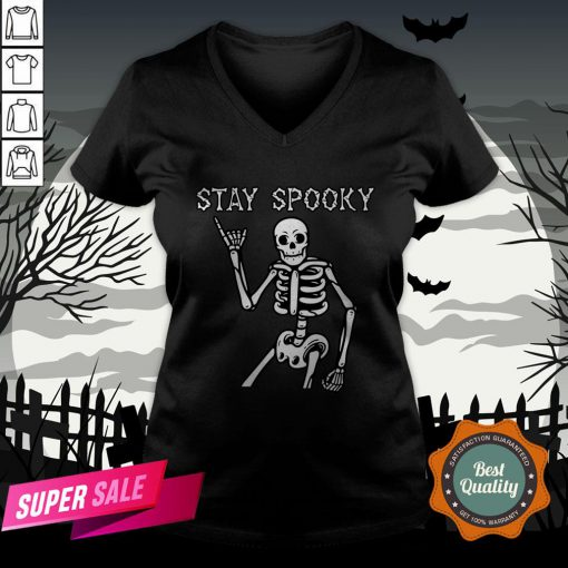 Stay Spooky Skeleton Halloween Day V-neck