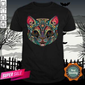 Sugar Skull Cat Kitten Flower Cat Halloween Dia De Muertos Shirt