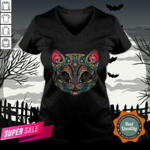 Sugar Skull Cat Kitten Flower Cat Halloween Dia De Muertos V-neck
