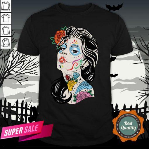 Sugar Skull Colorful Girl Dia De Los Muertos Day Dead Shirt