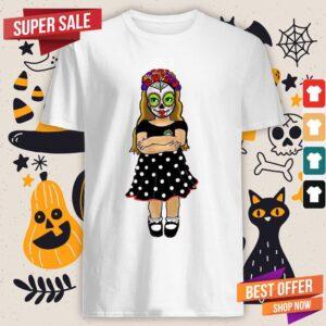 Sugar Skull Makeup Baby Cute Girl Day Of The Dead Muertos Shirt