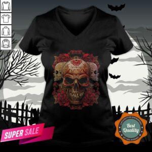Sugar Skull Roses Day Of The Dead Dia De Muertos V-neck