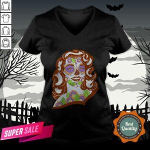 Sweet Sugar Skull Model Day Of The Dead Muertos V-neck