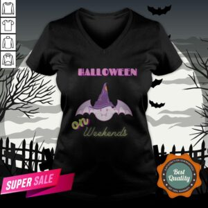 The Day Of Dead Halloween The Bat Witch On Weekends Sugar Skull V-neck