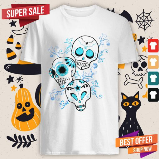Vintage Sugar Skull Blue Day Of Dead Dia De Muertos Shirt