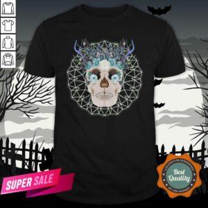 Winter Gothic Sugar Skull With Mandala Nature Flowers Skulls Day Dead Shirt