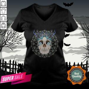 Winter Gothic Sugar Skull With Mandala Nature Flowers Skulls Day Dead V-neck