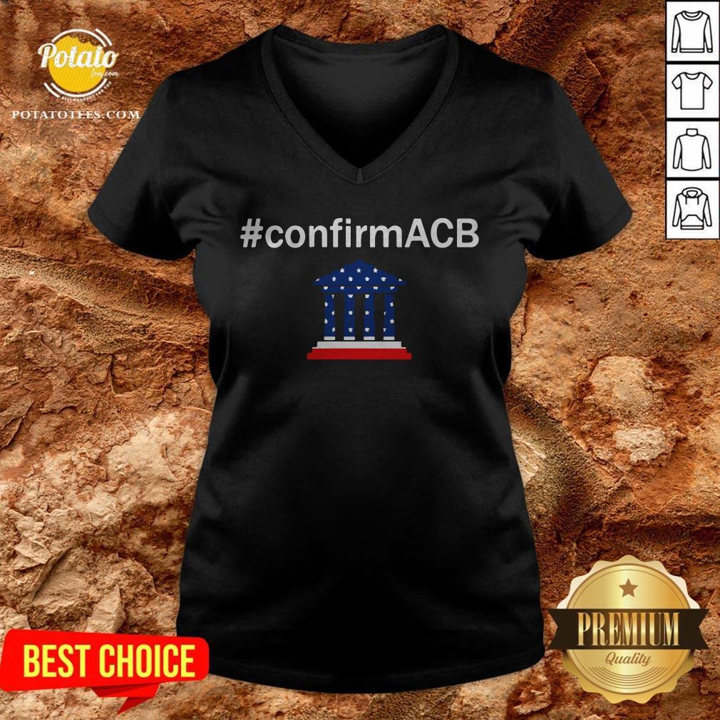Confirm ACB Amy Coney Barrett Supreme Court America Flag USA V-neck - Design By Potatotees.com