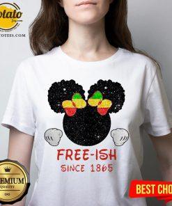 Disney Minnie Mouse Black Free-ish Since 1865 V-neck - Design By Potatotees.com