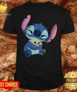 Disney Stitch Hugs Baby Yoda Shirt