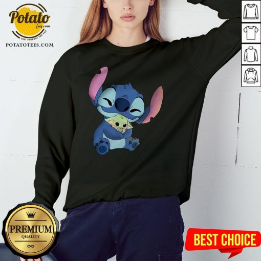 Disney Stitch Hugs Baby Yoda Sweatshirt