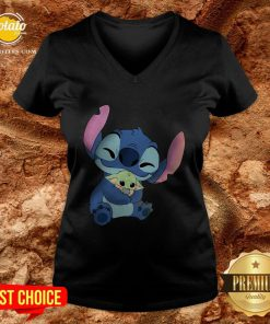 Disney Stitch Hugs Baby Yoda V-neck