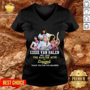 Eddie Van Halen 1955 2020 The Man The Myth The Legend Thank You For The Memories V-neck - Design By Potatotees.com