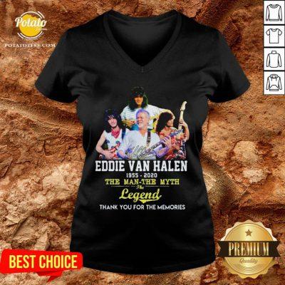 Eddie Van Halen 1955 2020 The Man The Myth The Legend Thank You For The Memories V-neck - Design By Potatotees.com