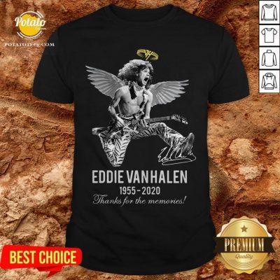 Eddie Van Halen Angle 1955 2020 Signature Thanks For The Memories Shirt - Design By Potatotees.com