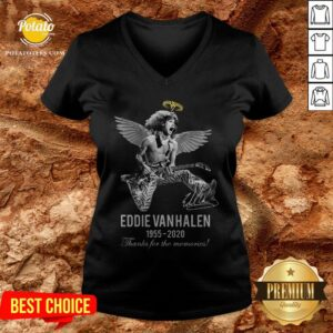 Eddie Van Halen Angle 1955 2020 Signature Thanks For The Memories V-neck - Design By Potatotees.com