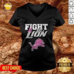 Fight Like A Minerva Lion Diamond V-neck